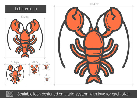 Lobster line icon. Vector illustration.