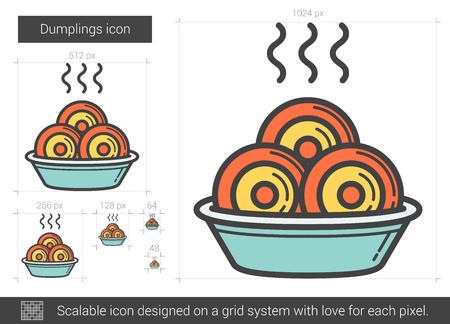 Dumplings line icon. Vector illustration.