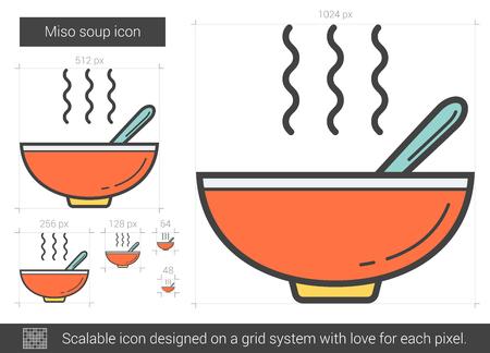 Miso soup line icon. Vector illustration.