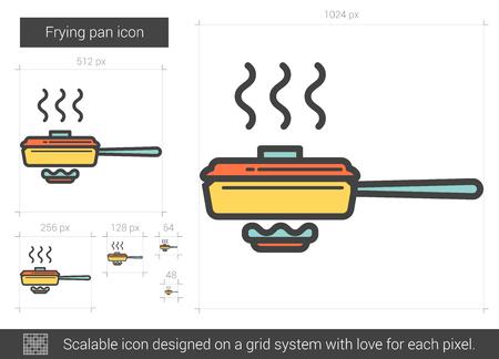 Frying pan line icon. Vector illustration. Illustration