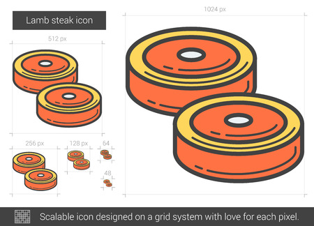 Lamb steak line icon. Vector illustration.