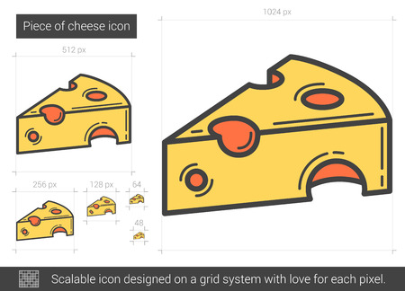 Piece of cheese line icon. Vector illustration.
