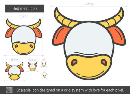 Red meat line icon. Vector illustration.