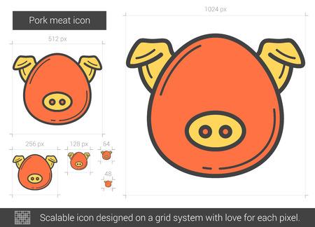 豚肉肉線アイコン。ベクトルの図。