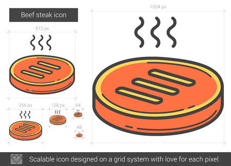 Beef steak line icon. Vector illustration. Illustration