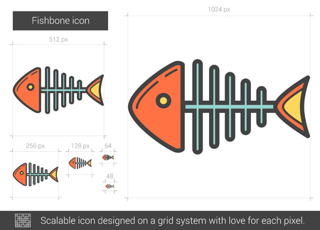dead fish: Fishbone line icon.