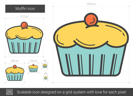 cupcakes isolated: Muffin line icon.