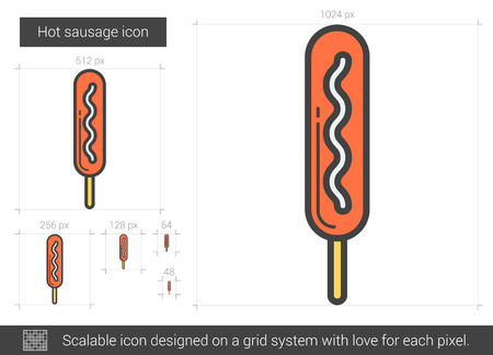 Hot sausage line icon. Çizim