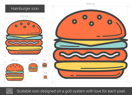 Hamburger line icon. 向量圖像