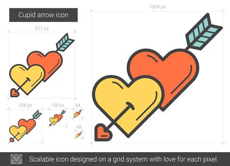 to pierce: Cupid arrow line icon. Illustration