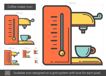 electronic device: Coffee maker line icon. Illustration