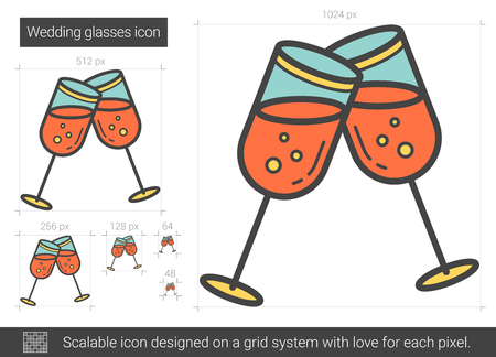 two party system: Wedding glasses line icon.