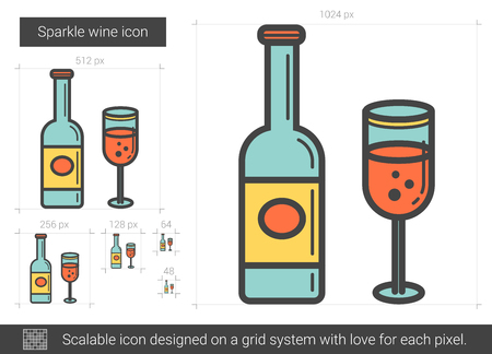 Sparkle wine line icon.