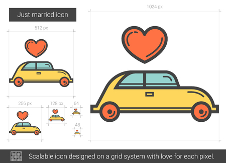 wedded: Just married line icon.