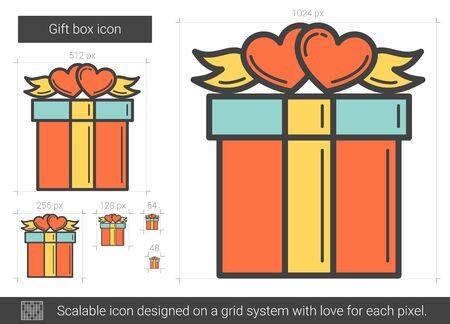 Gift box line icon.