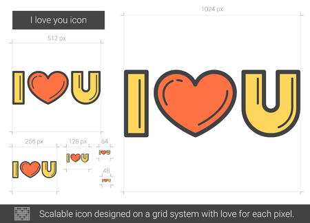 sentimental: I love you line icon.