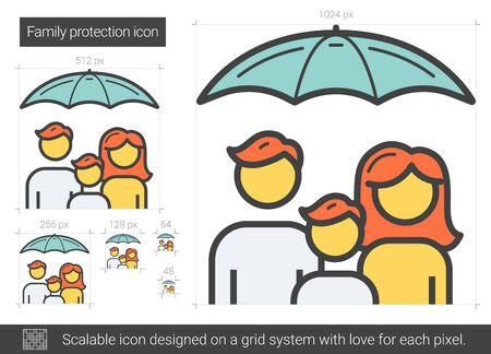Family protection line icon.