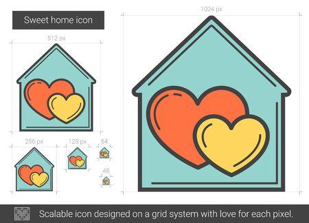 Sweet home line icon. Illustration