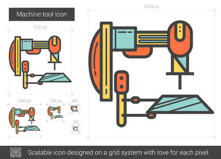 metal grid: Machine tool line icon. Illustration