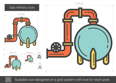 Gas refinery line icon.
