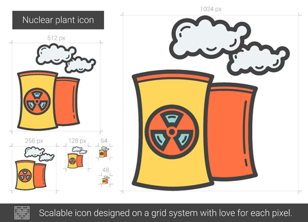 scalable: Nuclear plant line icon. Illustration