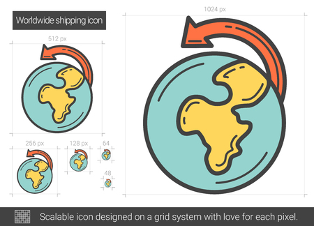 scalable: Worldwide shipping line icon.