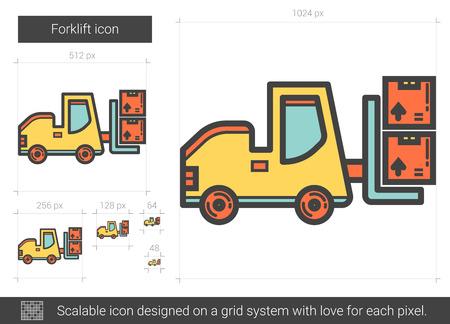 fork lifts trucks: Forklift line icon. Illustration