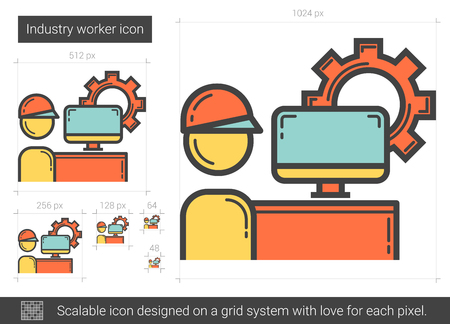 Industry worker line icon.