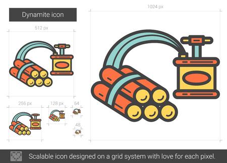 dinamita: Icono de línea de dinamita.