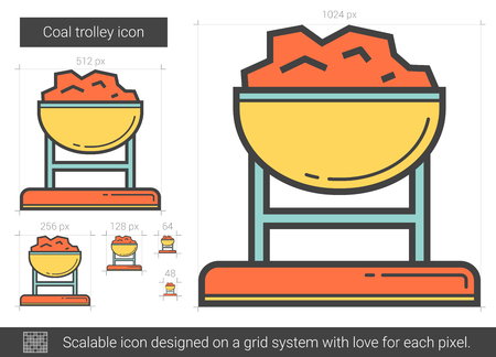 Coal trolley line icon. Illustration