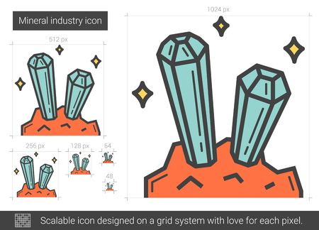 Mineral industry line icon.