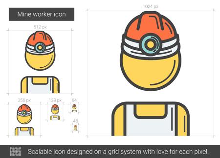 鉱山労働者の線のアイコン。  イラスト・ベクター素材