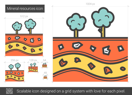 Mineral resources line icon.