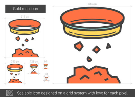 sifting: Gold rush line icon.
