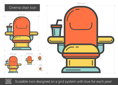 classic furniture: Cinema chair line icon.