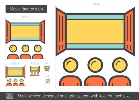 Movie theater line icon. Illustration