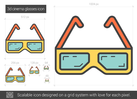 Three d cinema glasses line icon.
