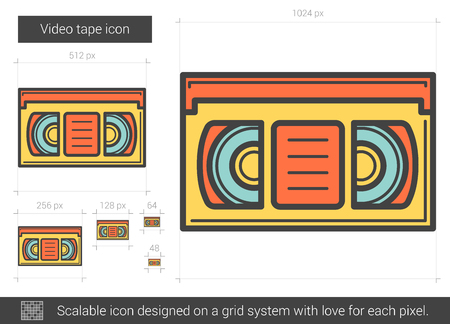 scalable: Video tape line icon.