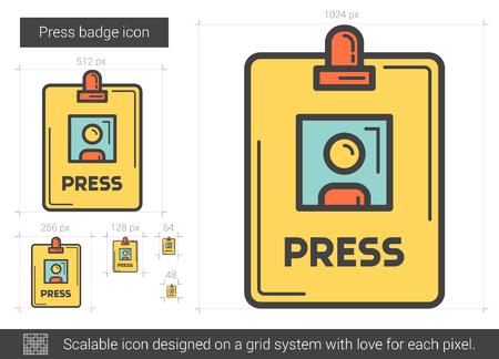 Press badge line icon. Illustration