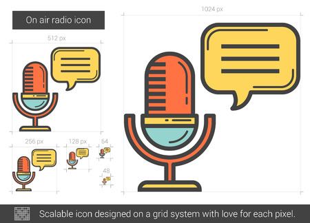 scalable: On air radio line icon.