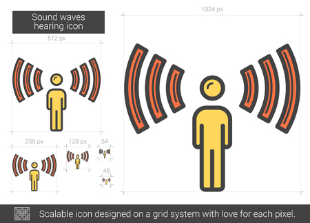 Sound waves hearing line icon. Vector illustration.
