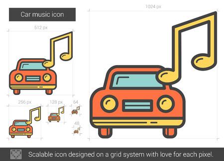 Auto muziek lijn pictogram. Vector illustratie.