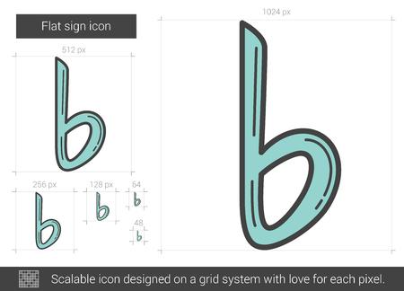 Flat sign line icon. Vector illustration.