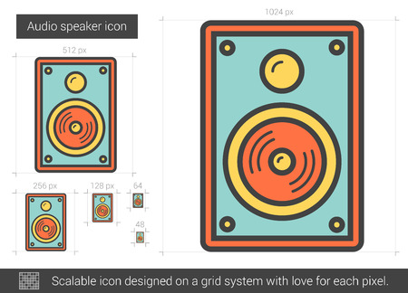 loud speaker: Audio speaker line icon. Vector illustration. Illustration