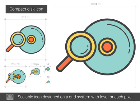 Compact disk line icon. Vector illustration.