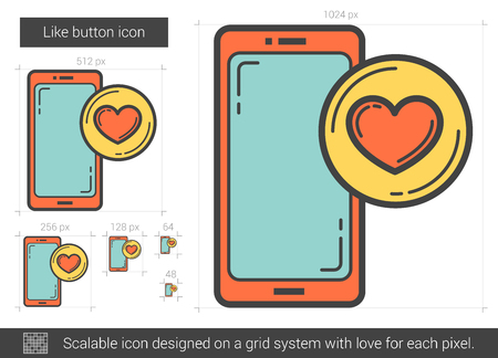 Like button line icon. Vector illustration.