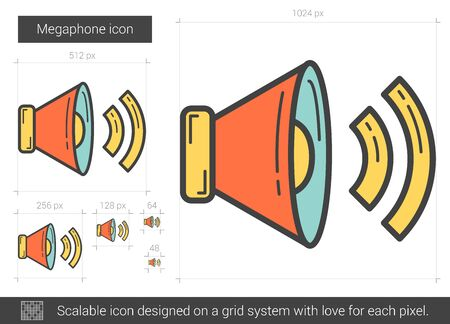 Megaphone line icon. Vector illustration.
