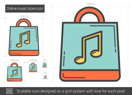 Online music store line icon. Vector illustration.