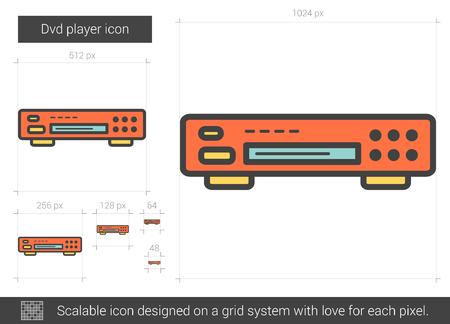 Dvd player line icon. Vector illustration.
