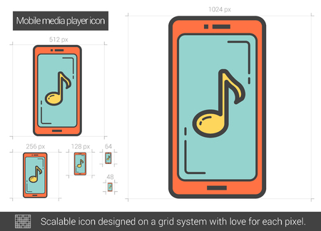 media gadget: Mobile media player line icon. Vector illustration. Illustration